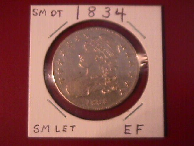 Capped Bust Silver Half Dollar 1834 Extremely Fine Condition