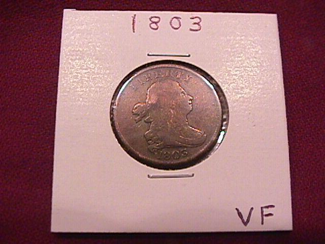 Coin Draped Bust Half Cent  1803  Fine to Very Fine Condition