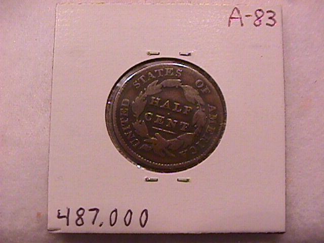 Coin Classic Head Half Cent  1829   Fine to Very Fine Condition