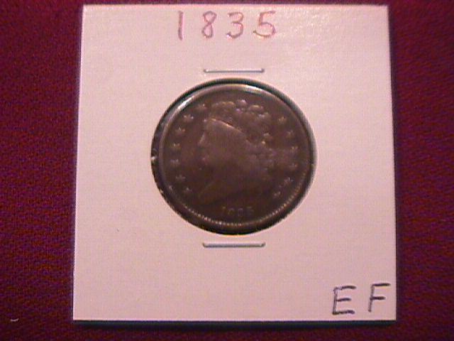 Coin Classic Head Half Cent  1835  Very Fine to Extremely Fine Condition