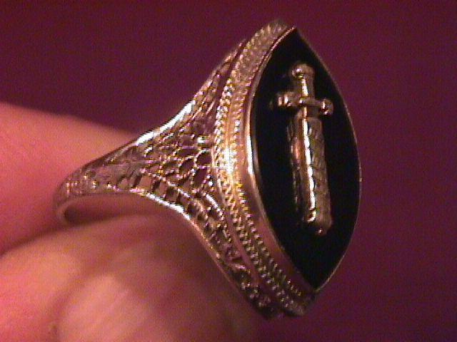 14K Solid White Gold Filigree Ladies Demolay Ring