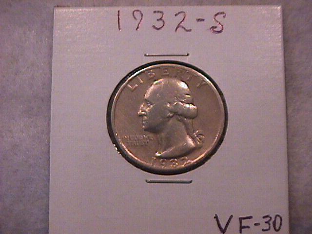 Silver Coin Washington Quarter  1932-S  Key Date=Very Fine Condition