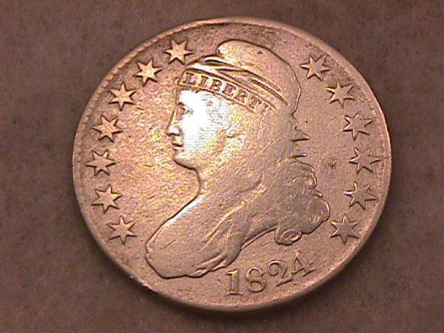 Capped Bust Silver Half Dollar Coin, 1824, Very Good to Fine Condition