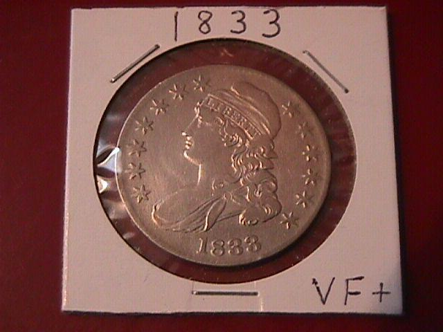 Capped Bust Silver Half Dollar 1833 Very Fine Plus Condition