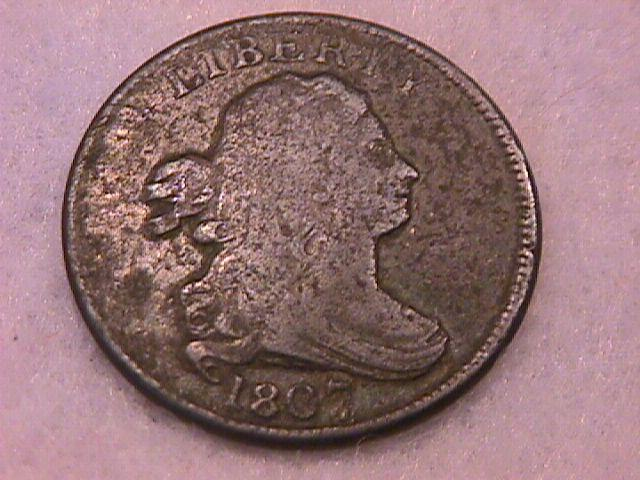Half Cent Copper Coin Draped Bust-1807 Fine To Very Fine Condition