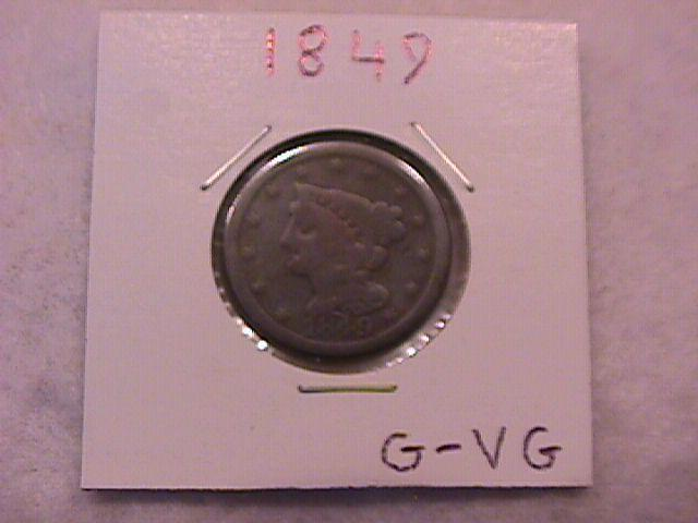Half Cent Copper Coin Braided Hair-1849 Good To Very Good Condition