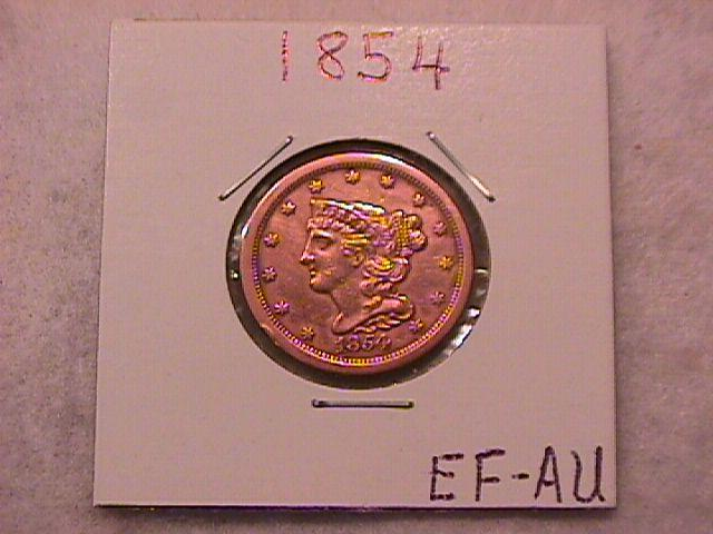 Half Cent Copper Coin Braided Hair 1854 Extremely Fine To Almost Uncirculated Condition