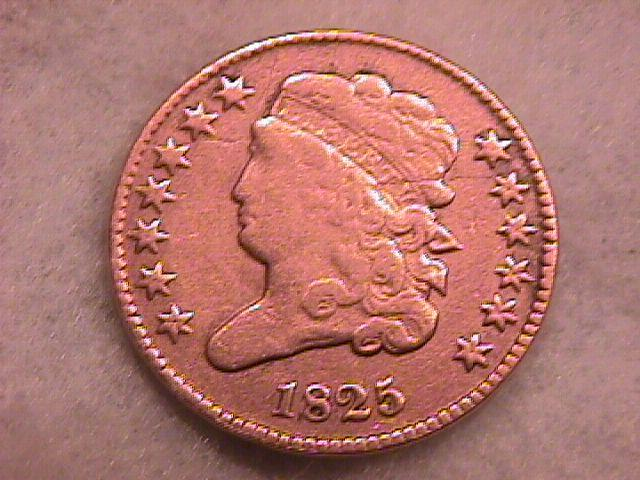Classic Head Half Cent Coin 1825 Very Fine Plus Condition