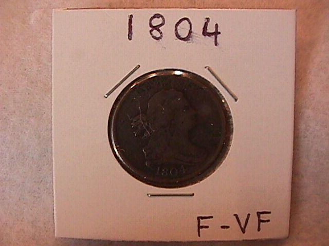 Draped Bust Half CENT COIN 1804 Fine to Very Fine  Condition