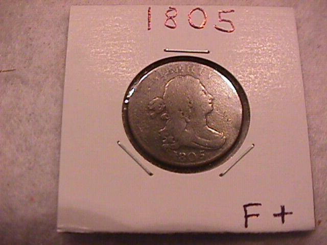Draped Bust Half Cent Coin 1805 Fine Plus to Very Fine Condition