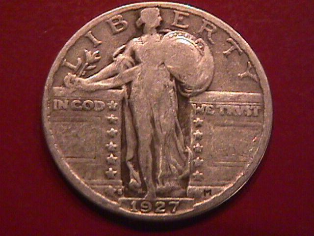 STANDING LIBERTY SILVER QUARTER 1927-s Fine Plus condition