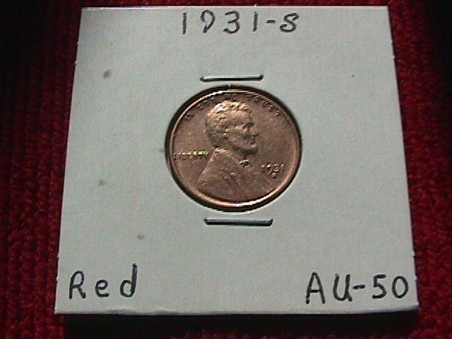 LINCOLN COPPER CENT 1931 S  Almost Uncirculated #50