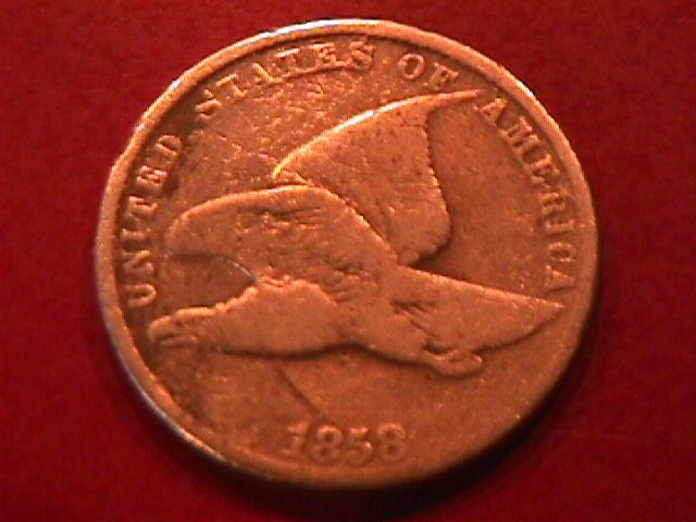 FLYING EAGLE Copper ONE CENT 1858 LARGE LETTERS VERY GOOD CONDITION