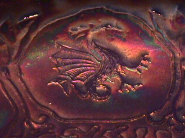 Fenton Carnival Glass (Dragon & Lotus) Bowl-Cobalt Blue