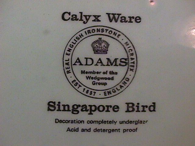 Adams Calyx Ware (Singapore Bird) Creamer
