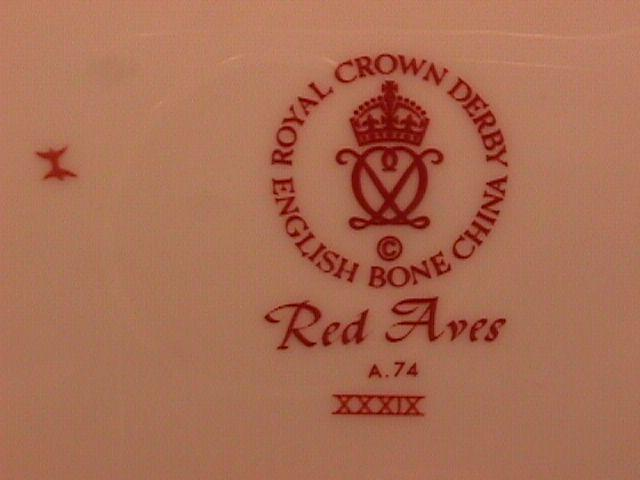 Royal Crown Derby Bone China (Red Aves A.74) Salad/ Lunch Plate
