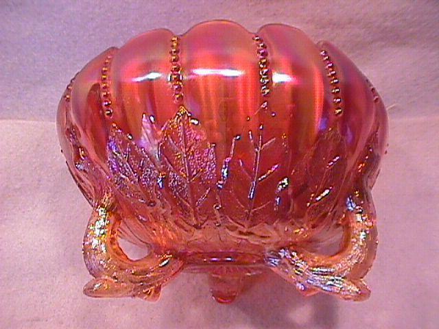 Northwoods Carnival Glass (Leaf & Beads) Rosebowl-Marigold
