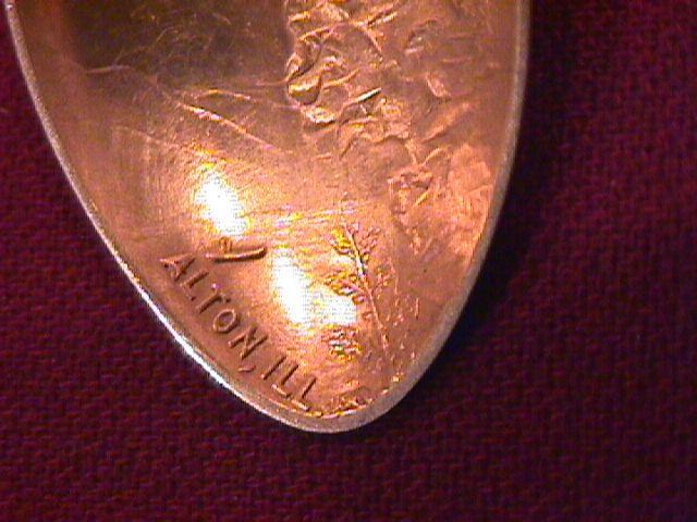 Antique (Rare) Sterling (Piasa Bird) Indian Lore= Souvenir Spoon