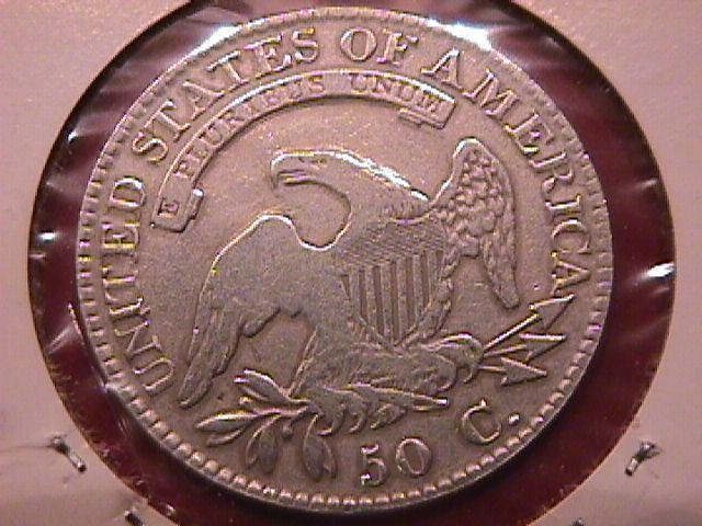 CAPPED BUST  SILVER HALF DOLLAR 1823 BROKEN 3 CHOICE VERY FINE