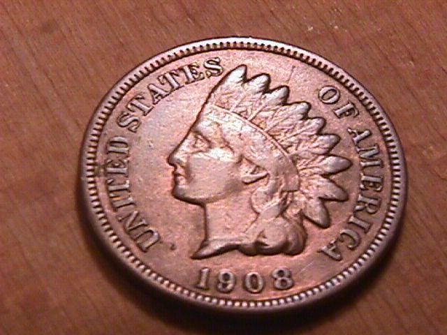 INDIAN HEAD COPPER ONE CENT 1908-S VERY FINE PLUS