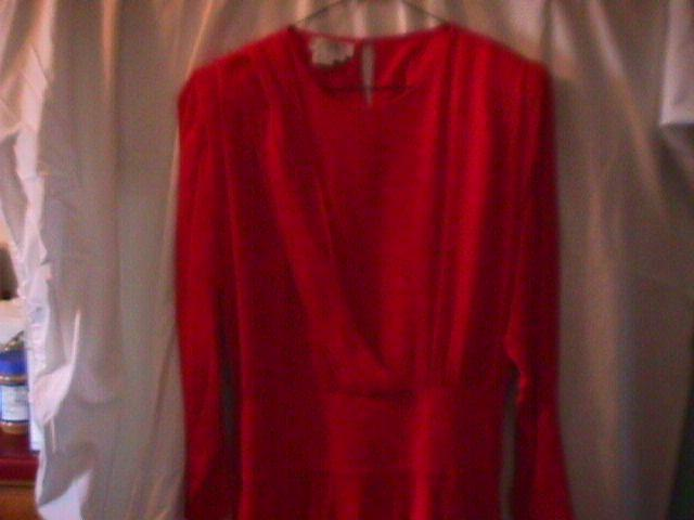 100% Red Silk Georgette Holiday Dress By Argenti-8