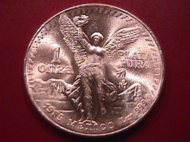 ESTADOS UNIDOS MEXICANOS 1985-1 ONZA PLATA PURA PURE SILVER BULLION ROUND