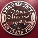 VIVA MEXICO 1984 UNA ONZA TROY .999 PLATA PURA PURE SILVER BULLION ROUND