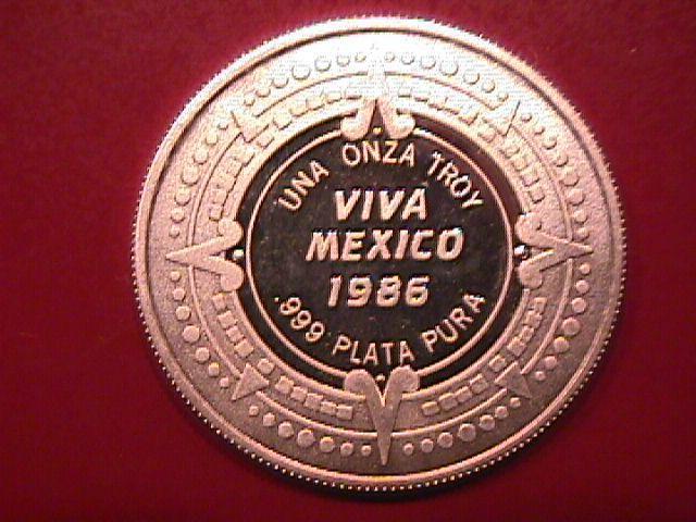 VIVA MEXICO 1986 UNA ONZA TROY .999 PLATA PURA PURE SILVER BULLION ROUND
