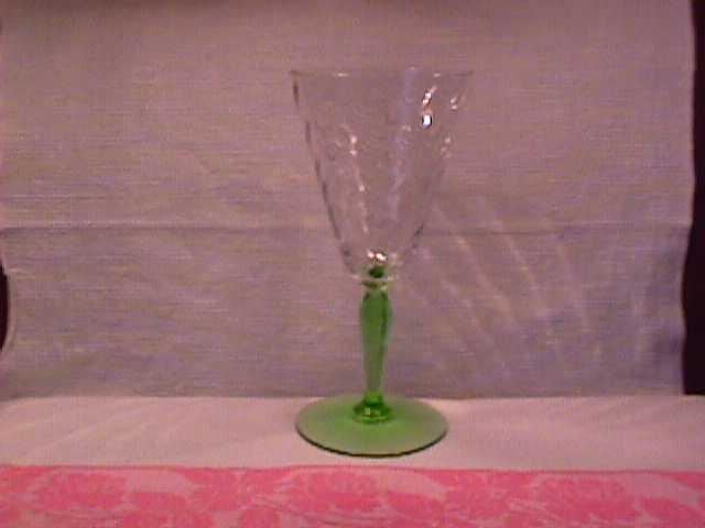 Fostoria (Spiral Optic) Water Goblet in Clear W/Green Stem