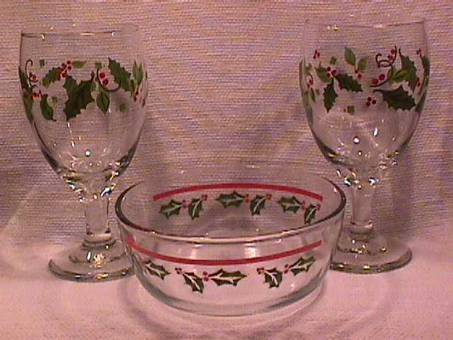 Set=2 -Christmas Holly Goblets and 1-Bowl-