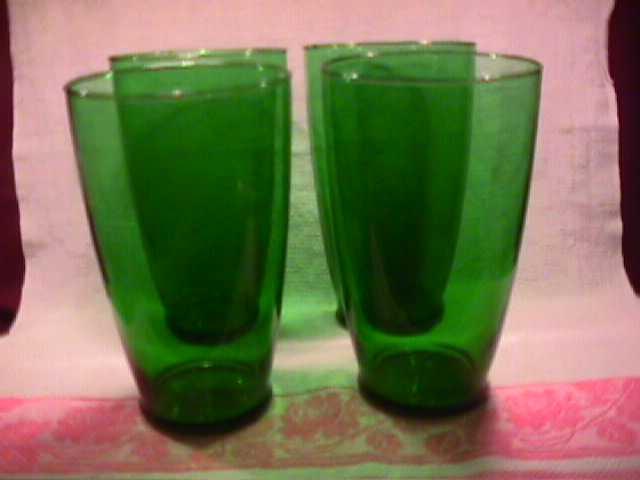 Set of 4=Anchor Hocking (Forest Green) Large Glasses