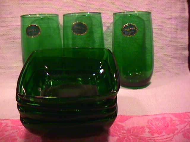 Set of Anchor Hocking (Forest Green)-3-Tumblers and 4-Party Dishes