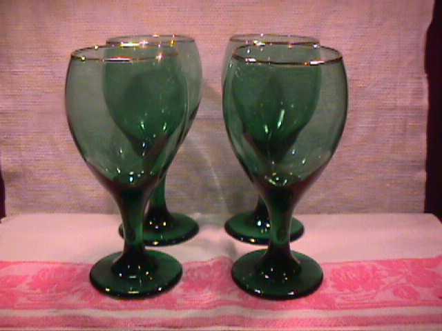 Set of 4-Libbey Rock Sharpe (Teardrop) Goblets