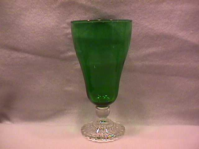 Anchor Hocking (Green Bubble) with a Clear Foot Goblet