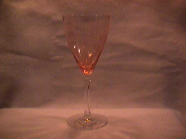 Fostoria (Versailles) Goblet in Pink W/Clear Stem