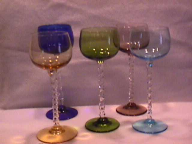 Set of (5) Twisted Stem Colored Cordials