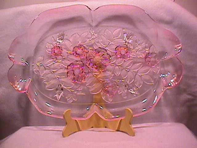 Mikasa (Rosella) Frosted  & Clear- Pink- Canape Plate
