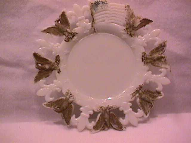 Early Westmoreland Milk Glass Plate with Eagles & Fleur De Lis