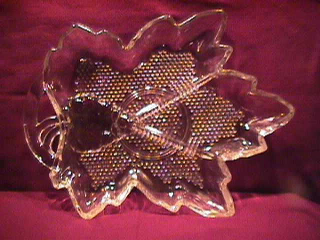 Pressed Glass (Leaf Design) 3-Part Relish