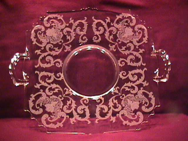 Square Handled Etched Glass Server