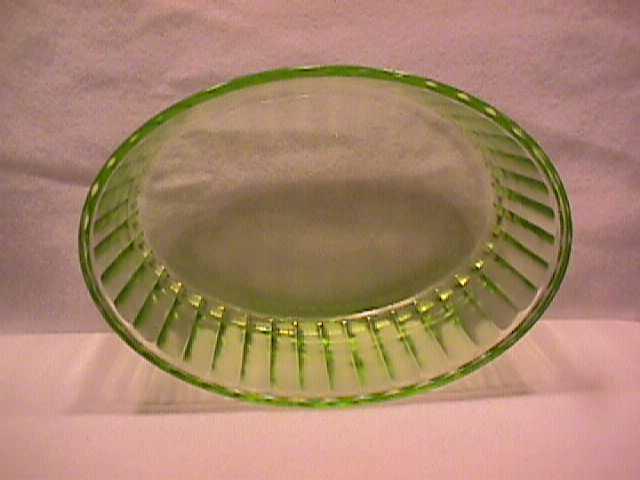 Heavy-Green Depression-Oval Ice-Box Bowl