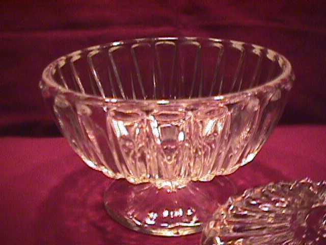 Clear Pressed Glass Covered Candy Dish