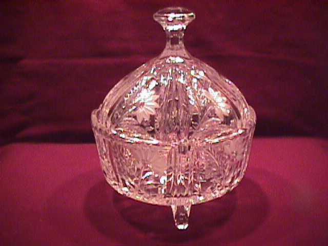 Crystal Covered Candy Dish with Frosted Flowers