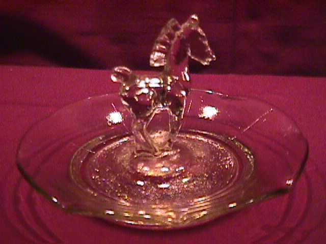 Pressed Glass (Horse) Ring or Pin Tray