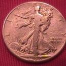 1938-D LIBERTY WALKING SILVER HALF DOLLAR VERY GOOD # 10 GRADING