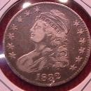 CAPPED BUST SILVER HALF DOLLAR DATED 1832 GRADED VERY FINE-20