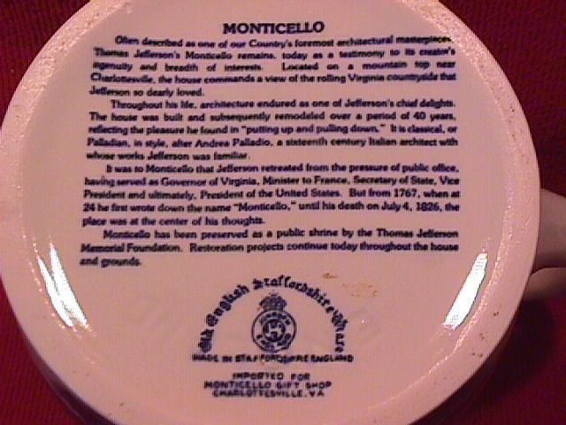 Staffordshire (Monticello) Milk Pitcher