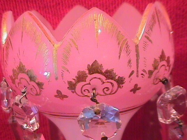 Bristol, French Pink Opaline Hurricane Lamp