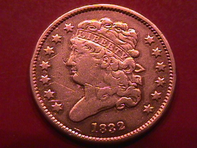 Half Cent Copper Coin Classic Head-1832 VERY FINE-30   Condition