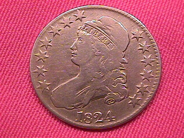 CAPPED BUST SILVER HALF DOLLAR  DATED -1824 GRADED VERY FINE -30   Condition